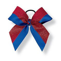 Two Color Grosgrain Fused Bow with One Color Glitter by Cheerleading Company