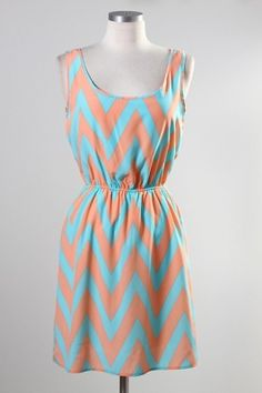 pastel chevron dress  #swoonboutique  coral and turquoise