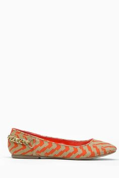 Dollhouse Abstract Couture Orange Flats