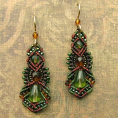 Macrame and glass bead earrings