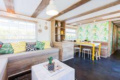 Green, yellow b&w Caravan Decor, Caravan Home, Caravan Makeover, Caravan Renovation, Remodeling Mobile Homes, Home Remodeling, Caravan Conversion, Trailer Interior, Interior Decorating