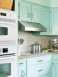 beachy pale turquoise cabinetry