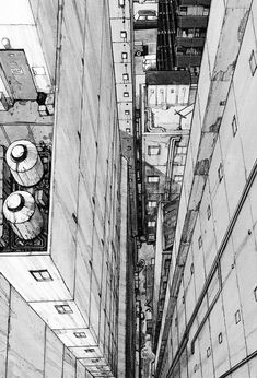 This is two point perspective and I like this because its from a birds eye view. We did something like this in class as wel Croquis Architecture, City Drawing, Perspective Drawing, Point Perspective, Urban Sketching, Environmental Art, Urban Landscape, Storyboard, Art Sketches