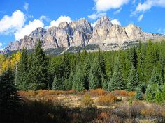 Banff National Park in Alberta, Canada, Castle Mountain ... One of the most imposing peaks in the Bow Valley, the bold, castellated southwest front of the mountain dominates the view for much of the journey from Banff to Lake Louise