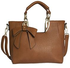 Big Handbag Shop Womens Medium Top Handle Bow Detail Shoulder Bag (9945 Medium Tan) -- Find out more about the great product at the image link.