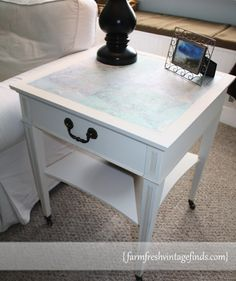 How to Decoupage a Sidetable {Themed Furniture Makeover Day} - Farm Fresh Vintage Finds