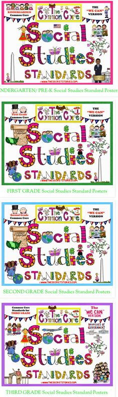 """Cutest-EVER! PreK-3rd Common Core Social Studies Standards Posters....Plus, FREE matching Science Standard posters at bottom of post :) ...... Follow for Free """"too-neat-not-to-keep"""" teaching tools & other fun stuff-https://www.pinterest.com/rgarner1289"""