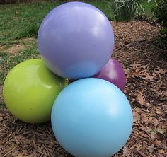painted bowling balls (I'd paint them different colors but cool idea.)