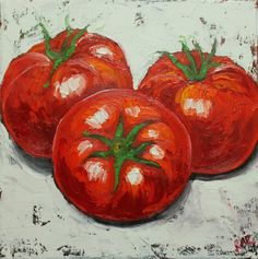 Tomato painting 1 12x12 inch original still life oil painting cupcakes by Roz. $85.00, via Etsy.