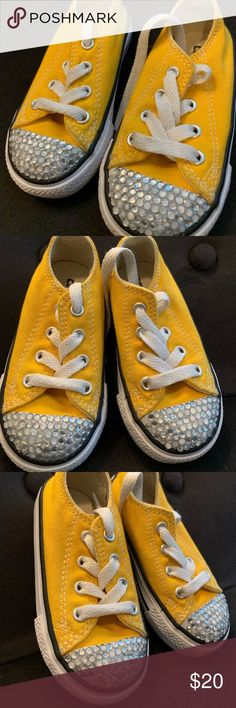 Yellow Converse Sneakers Yellow Converse (Toddler) Like New Condition ⭐️👌🏽 Jeweled toes 💎 See pictures for further detail. Same day shipping available 📦💕 Offers welcome! Yellow Converse, Kids Converse, Converse Sneakers, Fashion Design, Fashion Tips, Fashion Trends, Chuck Taylors, Moccasins, Detail