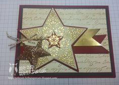 Stampin'Up! ... handmade Christmas card from Beth's Paper Cuts ... Bright and Beautiful star in ivory with gold embossing and burgundy matting ... background layer with embossing folder script texture ... gorgeous!!