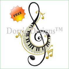 "dorria-designs-425 Treble clef embroidery design 2.30"" x 3.94"" freebie music"