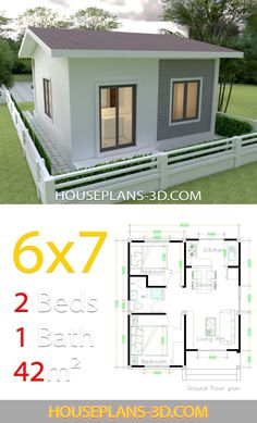House Design with 2 bedrooms - House Plans can find Small house and more on our website.House Design with 2 bedrooms - House Plans Simple House Plans, Simple House Design, Tiny House Design, 2 Bedroom House Plans, Dream House Plans, House Floor Plans, Guest House Plans, Small Floor Plans, House Layout Plans