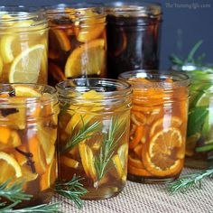 """5 easy-to-make, no cook, naturally flavored honey syrups that can be a home remedy to soothe a sore throat or cough. These should be covered and stored in the refrigerator. As you use the syrups, you may continue to add more honey to the jars to keep them full.  They are good for at least 1-2 months, maybe longer."""