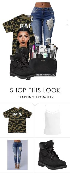 """""""bape"""" by ballislife ❤ liked on Polyvore featuring A BATHING APE, Sans Souci and Timberland"""