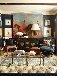 Elegant and handsome English-inspired living room, designed by Scot Meacham Wood of interior design service specialist Decorist; photographed by Thayer Allison Gowdy.