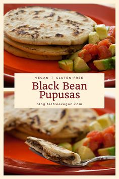 mexican recipes Black Bean Pupusas: A delicious and low-fat filling makes these vegan black bean pupusas a nutritious alternative to tacos or burritos. Gluten-free, too. Vegan Mexican Recipes, Gourmet Recipes, Whole Food Recipes, Vegetarian Recipes, Cooking Recipes, Healthy Recipes, Vegan Black Bean Recipes, Black Bean Bread Recipe, Low Fat Vegan Recipes