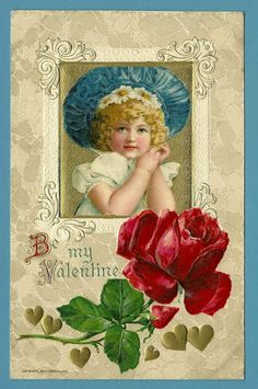John Winsch Embossed Valentine Postcard of Blonde Girl with Red Rose