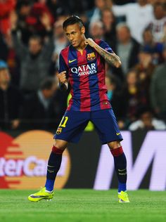 Neymar of Barcelona celebrates as he scores their first goal during the UEFA Champions League Quarter Final second leg match between FC Barcelona and Paris Saint-Germain at Camp Nou on April 21, 2015 in Barcelona, Catalonia.