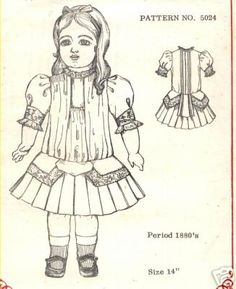 8 Antique French Bru Doll 1880 Drop Waist Dress Pattern Jumeau German Girl | eBay   I like the back of this dress, would be pretty in the front of a dress.