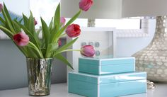Shelter Interior Design - living rooms - Arteriors Tortoise Table Lamp, vignette, tabletop vignette, blue gray walls, blue gray wall color, ...