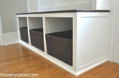 How to Build an Entry Bench with Cubbies and Baskets for Storage and Organization