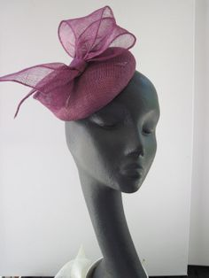 Womens Cocktail Hat Plum Sinamay Bow Wedding by MindYourBonce, £53.00