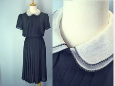 Vintage 80s Sheer Black Dress Pleated Front by ShirleyBoutique