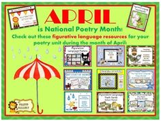 April is National Poetry Month. Check out my line of creative, easy to use resources for figurative language that can be easily incorporated into your poetry unit. They will make planning a breeze! ($)