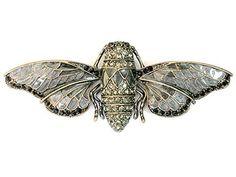 Buy the Cicada Pin Brooch Gorgeous Black Rhinestone Crystal at mariescrystals.com