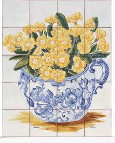 1505 Portuguese artistic panel tile Portuguese Ceramic Wall Decor tiles - FLOWERS VASE MARGARIDASManufacture: all handmade and paint; Tile Murals, Tile Art, Portugal, Tile Panels, Mosaic Backsplash, Antique Tiles, Portuguese Tiles, Blue Tiles, Flower Vases