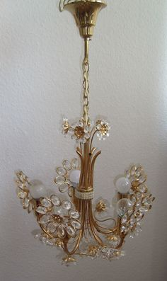 PALWA Lamp Vintage 1960 S Murano clear Glass Flower Flush Mount