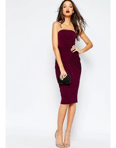 Image 4 of ASOS TALL Bandeau Midi Dress With Twist Wrap Skirt