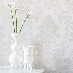 Distressed Damask by Albany - Silver / Cream - Wallpaper : Wallpaper Direct Damask, Silver Wallpaper, Pattern Wallpaper, White Damask, Wallpaper, Cream Wallpaper, Beautiful Wallpapers, Damask Wallpaper, Distressed Walls