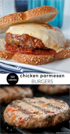 Chicken Parmesan Burgers! This light and healthy recipe satisfies your chicken parm craving AND your burger craving for only 322 calories! Made with lean ground chicken, your favorite marinara sauce, and mozzarella cheese--they come together in no time.::