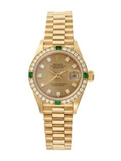 Rolex Rolex Oyster Perpetual Datejust Diamond & Emerald Watch, 26mm