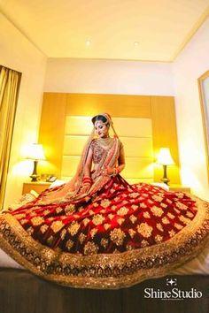 Indian bridal Bridal Lehenga - Bride in a Marsala Velvet Lehenga with Golden Embroidery Indian Bridal Outfits, Indian Bridal Lehenga, Indian Bridal Wear, Pakistani Bridal, Indian Dresses, Bridal Dresses, Bride Indian, Lehenga Choli, Anarkali