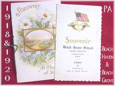 1918 1920 Pennsylvania Souvenir School Book Booklet - Set of 2 - Beach Grove & Beach Haven School Salem Twp - Luzerne County - FREE SHIPPING by FindMeTreasures on Etsy