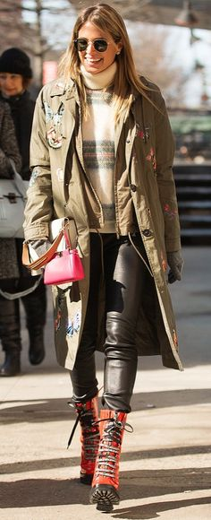 Fashion Week street style: Helena Bordon in a plaid turtleneck and leather pants