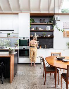 Collectors Cottage Mark Szczerbicki Design Studio CC Tom Ferguson open kitchen and dining Sliding Door Panels, Cedar Cladding, Old Cottage, The Design Files, Polished Concrete, Vintage Table, Inspired Homes, Kitchen Interior, Interior Livingroom