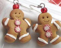 Gingerbread Man Cookie Earrings - Christmas Earrings