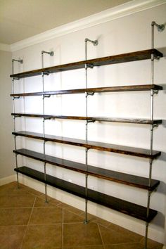 Industrial Shelving Unit, Industrial Office furniture, Office shelving, Urban pipe shelving, Metal and wood shelving by IndustrialEnvy on Etsy https://www.etsy.com/listing/226993195/industrial-shelving-unit-industrial