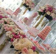 Cakes by Leyara Cakes; Dessert towers by Strawberries and Co.; Styling by Trouligraphics; Flowers by Stems by Abby