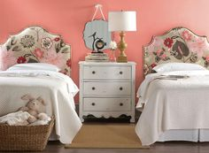 Nailhead upholstered twin headboard - perfect for kid's rooms. HomeDecorators.com