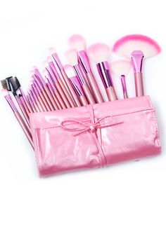 cute, pink makeup brushes