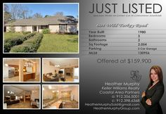 Just Listed! 604 Wild Turkey Rd MLS# 130956 Spacious home on corner lot located in convenient Southside location. Soaring ceilings, brand new tile floors & stone front fireplace are just a few upgrades.  Updated roof, systems, flooring, fresh paint - move in ready! Master suite w/luxury bath with double vanity & huge walk-in tiled shower.  Offered at $ 159,900  Heather Murphy 912-398-6368 Keller Williams Realty- CAP 912-356-5001