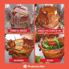 Sorprende a tu familia hoy y prepara estas deliciosas canastitas de tocino. #Receta #EliteMeAcompaña