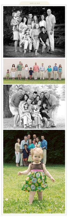 1. Std pose, 2. Standing in a straigt line holding hands  (Scott holding Levi, Tracy, Mom, Dad, Lynn, Nicholas, Abbie, Michael)