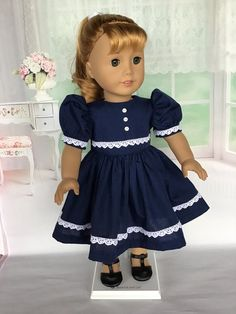 Navy silk with white contrast. All American Doll, American Girl Dress, American Girl Crafts, American Doll Clothes, American Girls, Girl Doll Clothes, Barbie Clothes, Girl Dolls, Ag Dolls