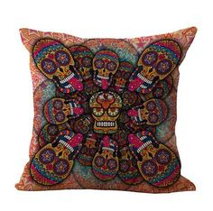 Sugar Skull Cushion Cover - Psychedelic - Orange